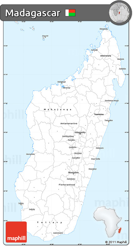 Silver Style Simple Map of Madagascar