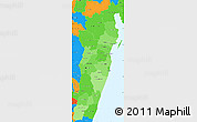 Political Shades Simple Map of Toamasina, political outside