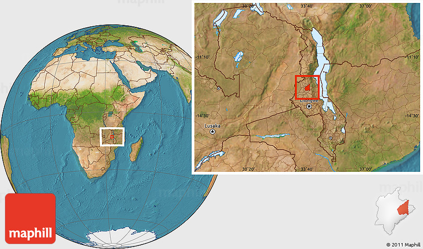 Satellite Location Map Of Wimbe - Where is malawi