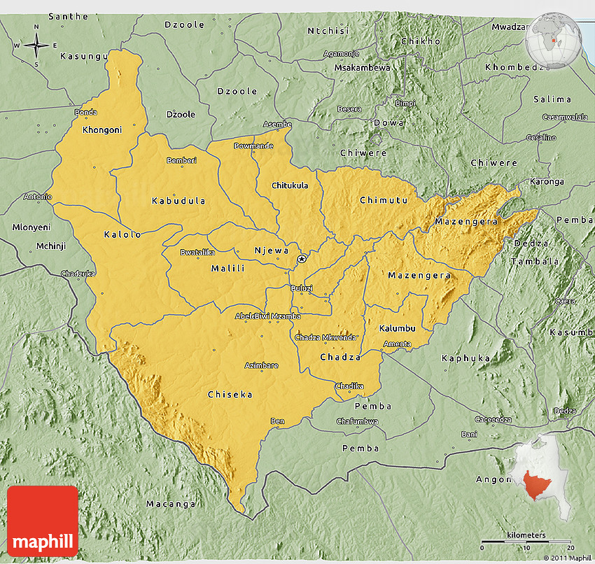 Savanna Style 3D Map of Lilongwe