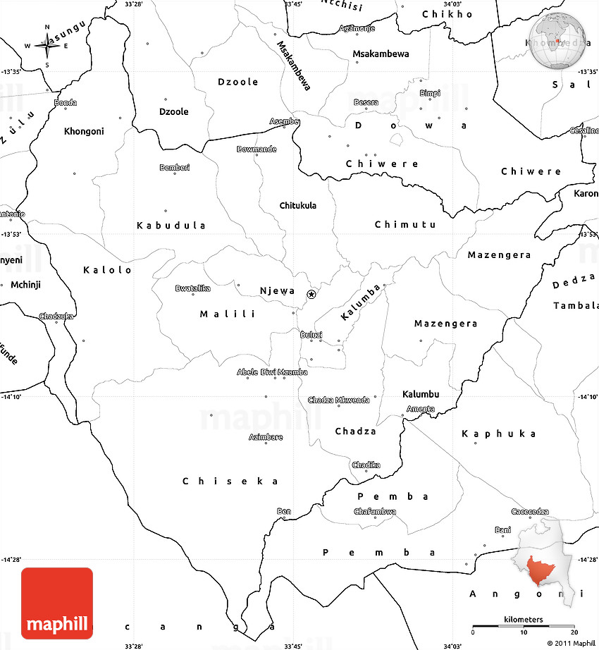 Blank Simple Map of Lilongwe
