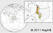 Physical Location Map of Malawi, blank outside