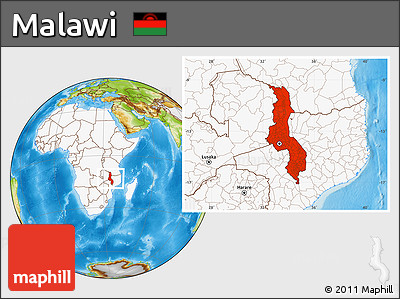 Physical Location Map of Malawi, highlighted continent