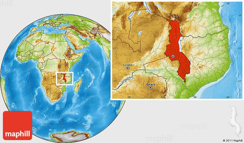 Physical Location Map Of Malawi - Malawi map