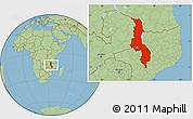 Savanna Style Location Map of Malawi