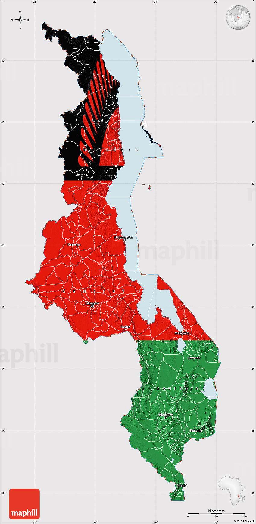 Flag Map Of Malawi - Malawi map