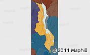Political Shades Map of Malawi, darken