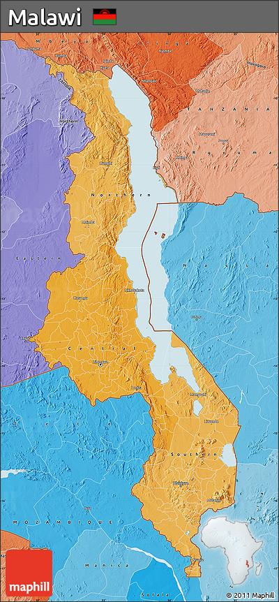 Political Shades Map of Malawi