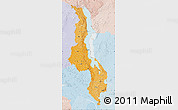 Political Shades Map of Malawi, lighten