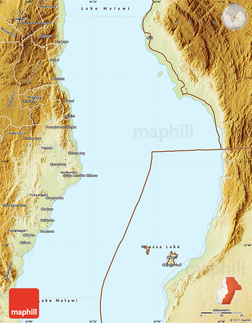 Physical Map of Lake Malawi