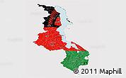 Flag Panoramic Map of Malawi