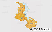 Political Shades Panoramic Map of Malawi, cropped outside