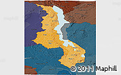 Political Shades Panoramic Map of Malawi, darken