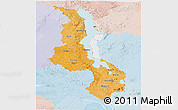 Political Shades Panoramic Map of Malawi, lighten