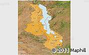Political Shades Panoramic Map of Malawi, satellite outside