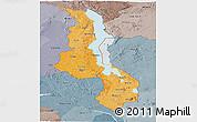Political Shades Panoramic Map of Malawi, semi-desaturated