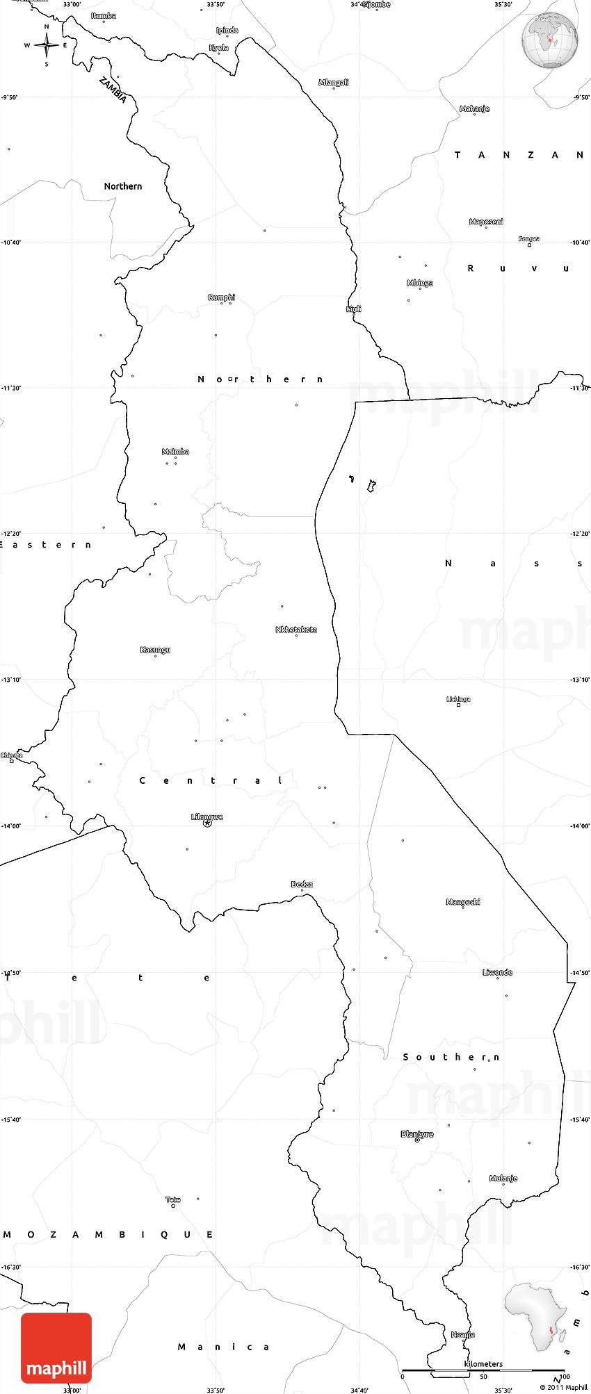 Blank Simple Map Of Malawi - Malawi blank map