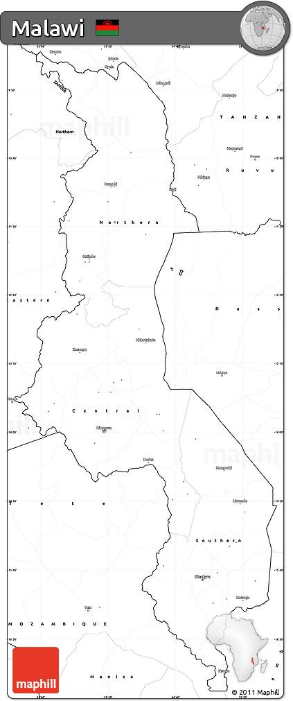 Free Blank Simple Map Of Malawi - Malawi blank map