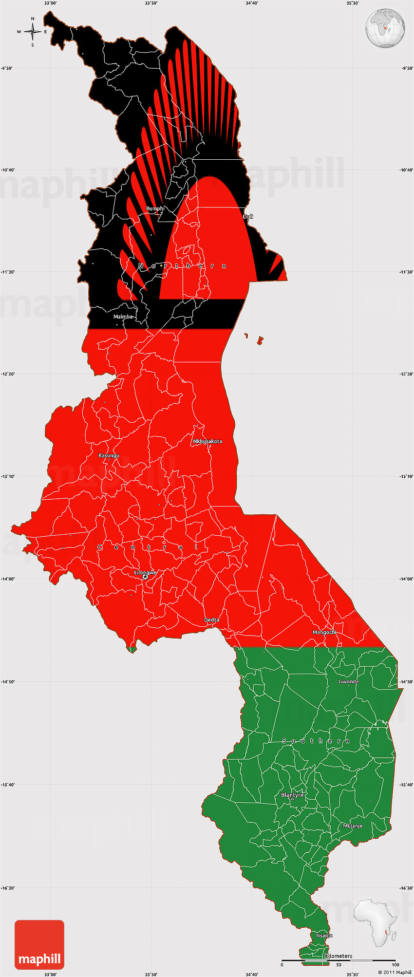 Flag Simple Map Of Malawi - Malawi blank map