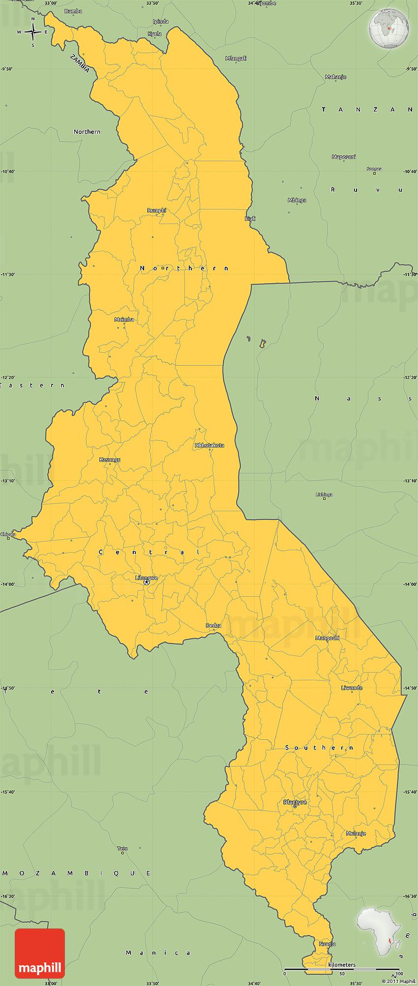 Savanna Style Simple Map Of Malawi - Malawi map