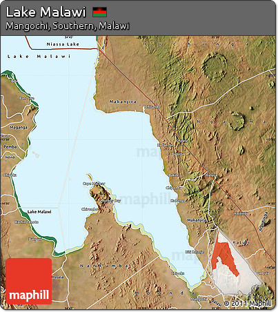 Free Physical Map of Lake Malawi satellite outside