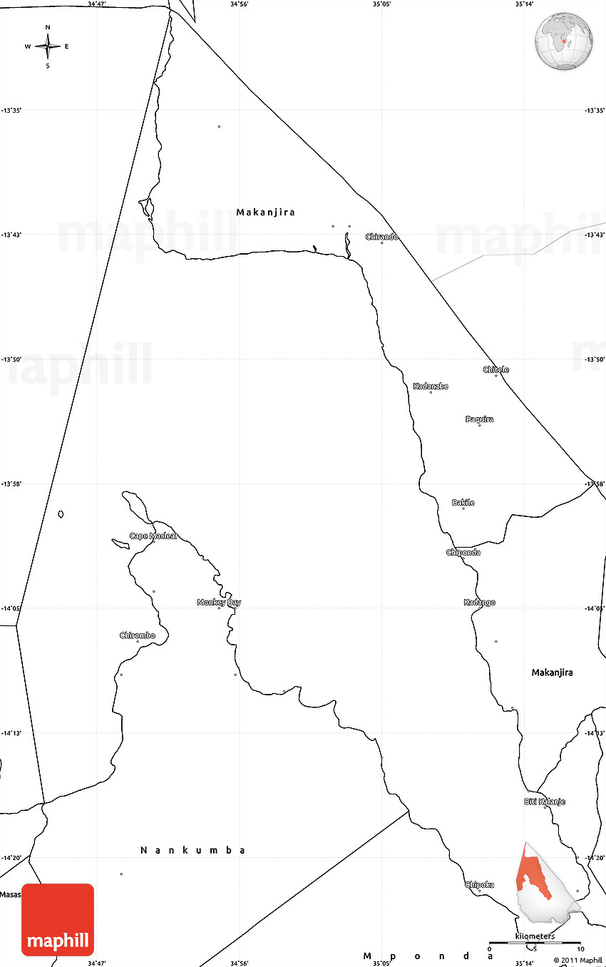 Blank Simple Map Of Lake Malawi - Malawi blank map