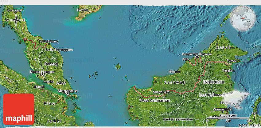 Google Maps Katsuya Locator Map Flag: Satellite 3D Map Of Malaysia