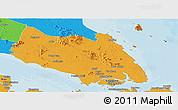 Political Panoramic Map of Johor