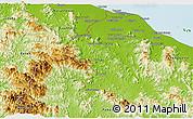 Physical Panoramic Map of Kelantan