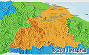 Political Panoramic Map of Kelantan
