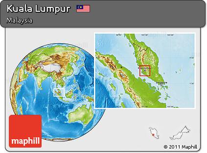 Physical Location Map of Kuala Lumpur