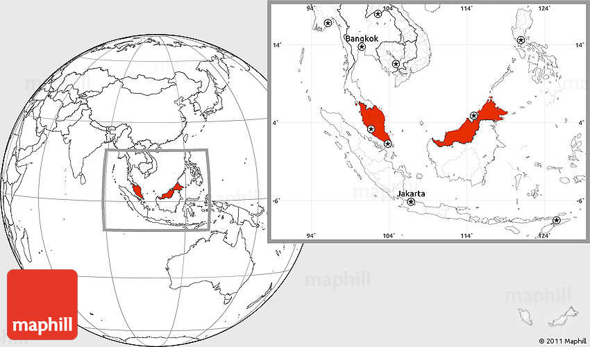 Malaysia On The World Map.Blank Location Map Of Malaysia