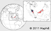 Flag Location Map of Malaysia, blank outside