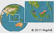 Flag Location Map of Malaysia, satellite outside
