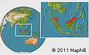 Satellite Location Map of Malaysia