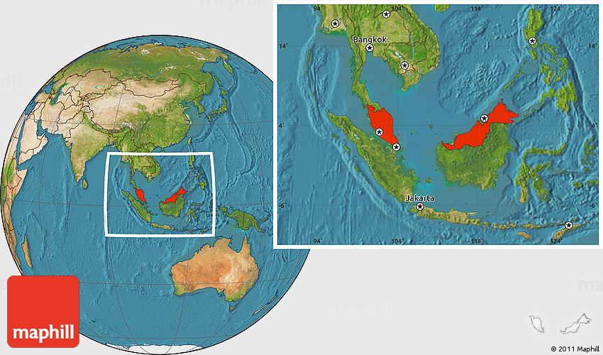 Google Maps Katsuya Locator Map Flag: Satellite Location Map Of Malaysia