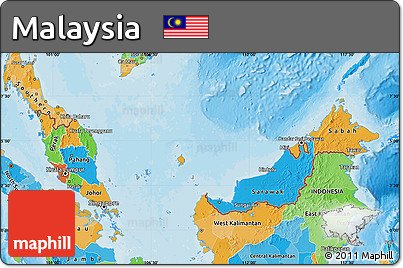 Free Political Map of Malaysia