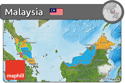 Free Political Map of Malaysia satellite outside bathymetry sea