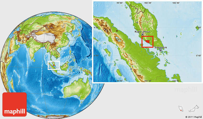 Malacca On World Map.Physical Location Map Of Melaka