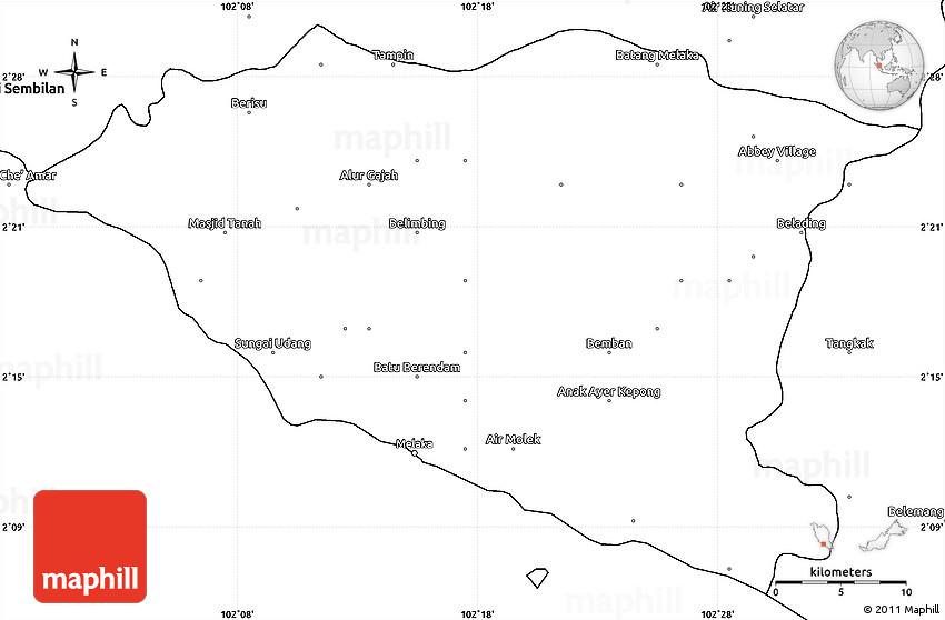 Blank Simple Map of Melaka