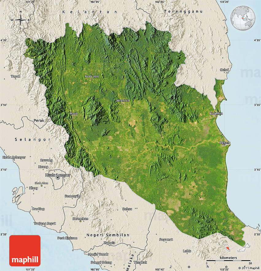 Malaysia On World Map Map: Satellite Map Of Pahang, Shaded Relief Outside
