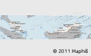 Gray Panoramic Map of Malaysia