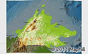 Physical 3D Map of Sabah, darken