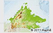 Physical 3D Map of Sabah, lighten