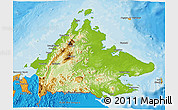 Physical 3D Map of Sabah, political outside