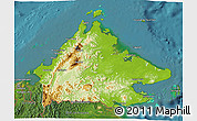 Physical 3D Map of Sabah, satellite outside