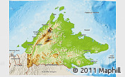 Physical 3D Map of Sabah, shaded relief outside