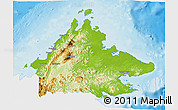 Physical 3D Map of Sabah, single color outside