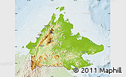 Physical Map of Sabah, lighten