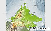 Physical Map of Sabah, semi-desaturated